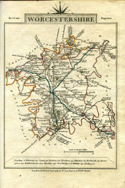 Worcestershire County Map by John Cary 1790 - Reproduction